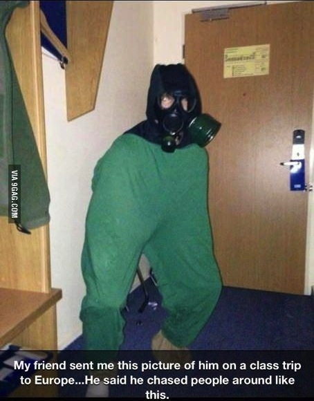 europe, wtf, scary, gas mask, pants, chase, story