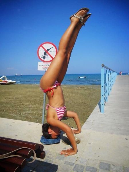 sign, rebel, dive, irony, head stand