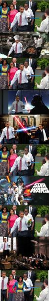 obama holding a light saber, photoshop