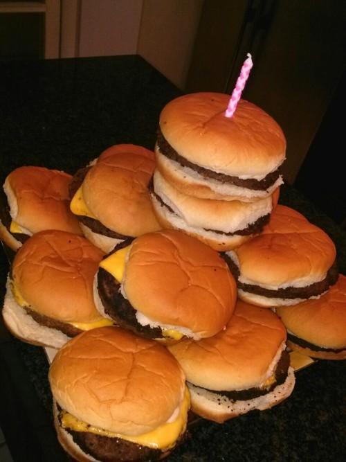 hamburgers, candle, birthday