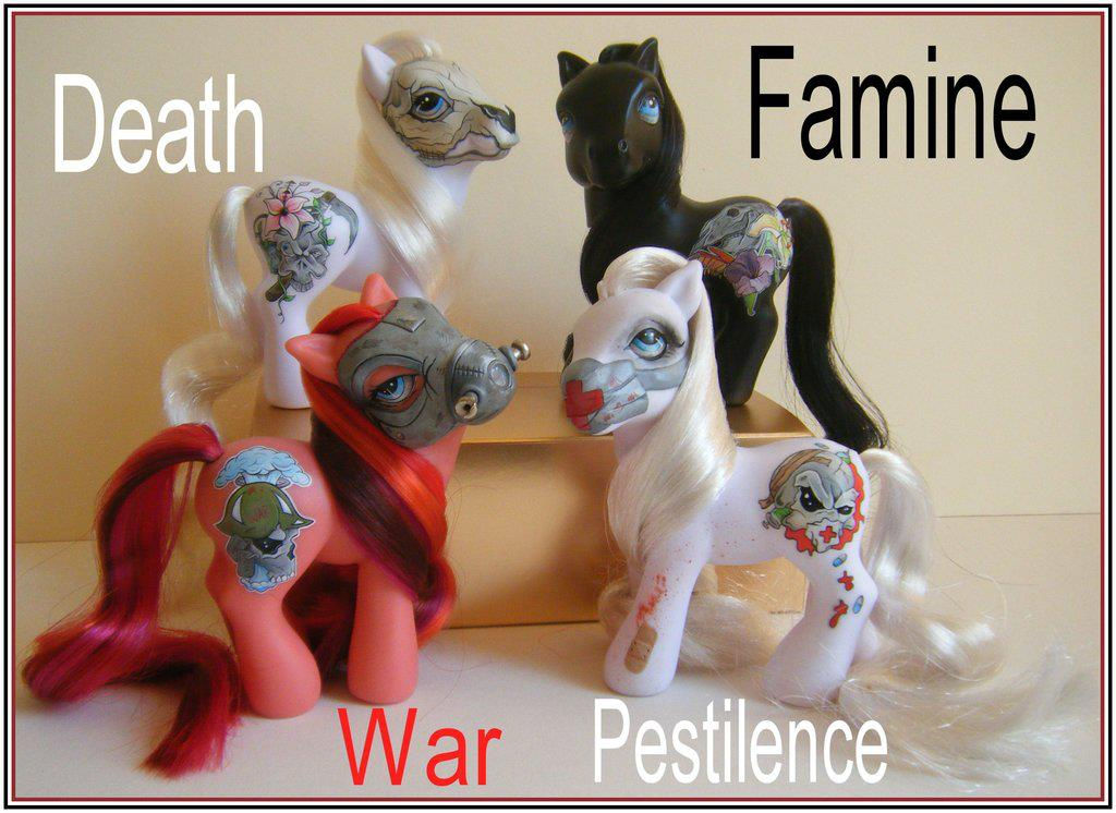 pony, death, famine, war, pestilence