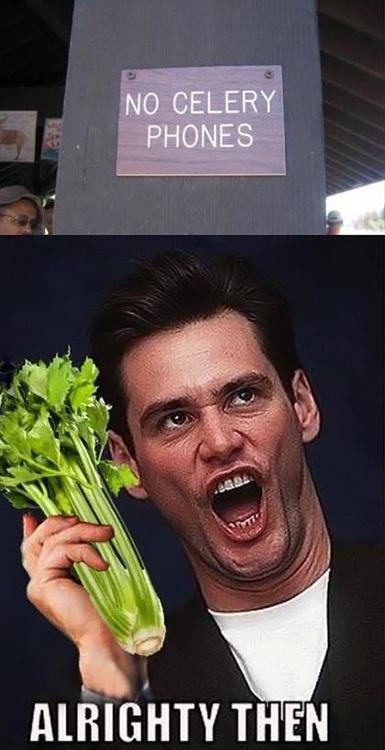 jim carrey, celery, phones, sign, fail
