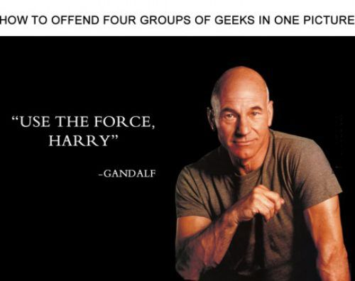 how to offend four groups of geeks in one picture, use the force harry, gandalf