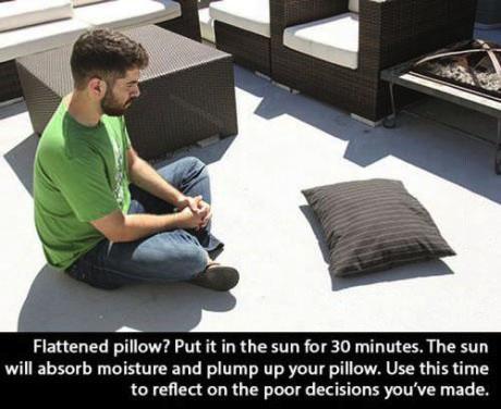 pillow, sun, life hack, dyk