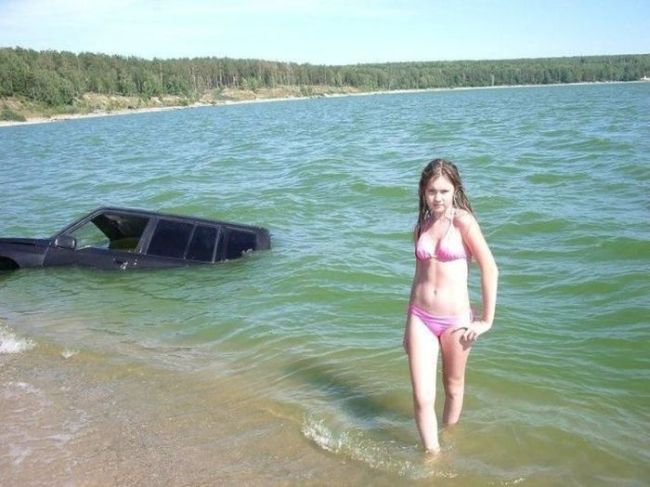 girl, truck, water, wtf