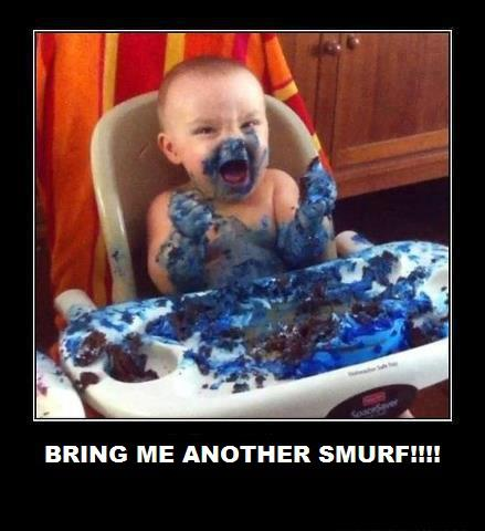 bring me another smurf, angry looking baby covered in blue