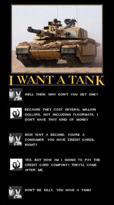 tank, credit card, motivation, conversation, joke