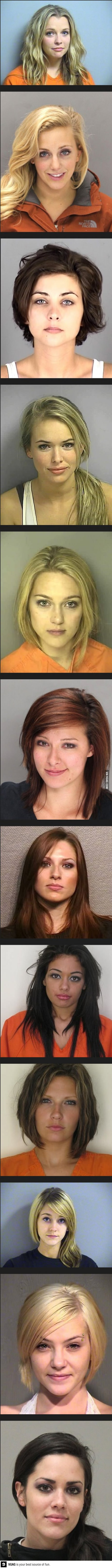 female, criminals, mug shot, hot