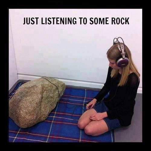 rock, girl, listening, music