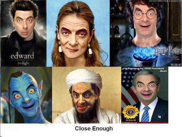 mr bean's face on popular movie posters, photoshop, rowan atkinson