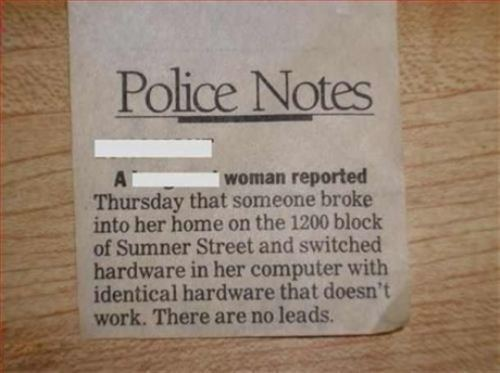 newspaper, fail, police notes, computer, thief, stupid