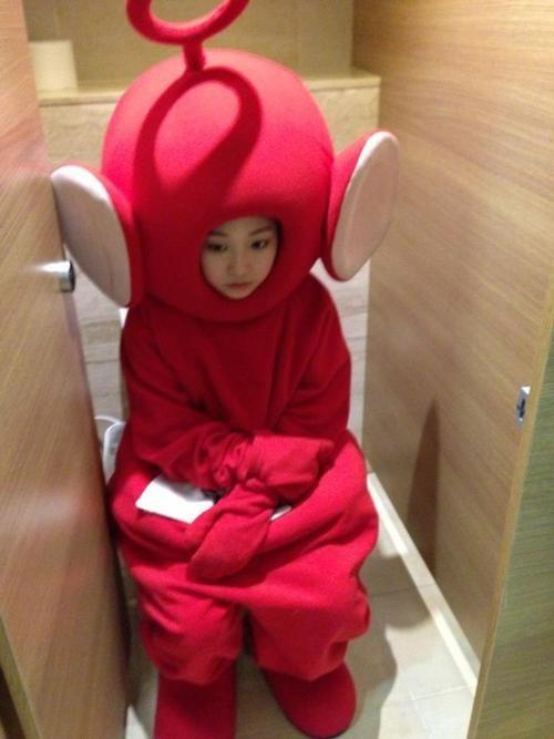 tele tubby, bathroom, wtf, costume