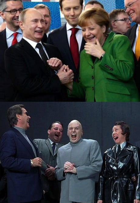 putin, merkel, russia, germany, dr evil, austin powers, laugh