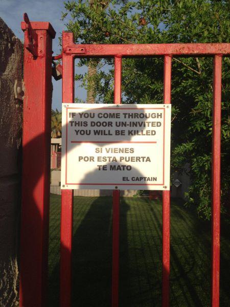 harsh, sign, killed, trespassing