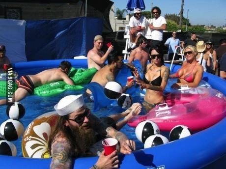 pool, white trash, people, floaties