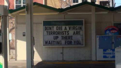 sign, virgin, die, terrorists, lol