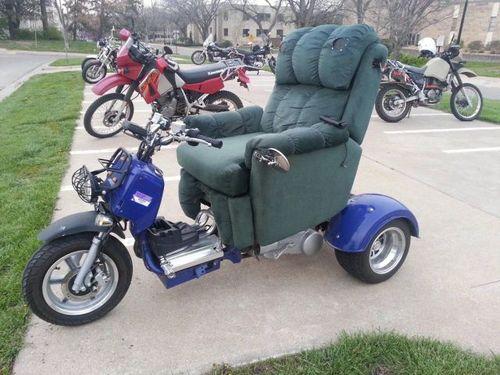 motorcycle, scooter, lazy boy