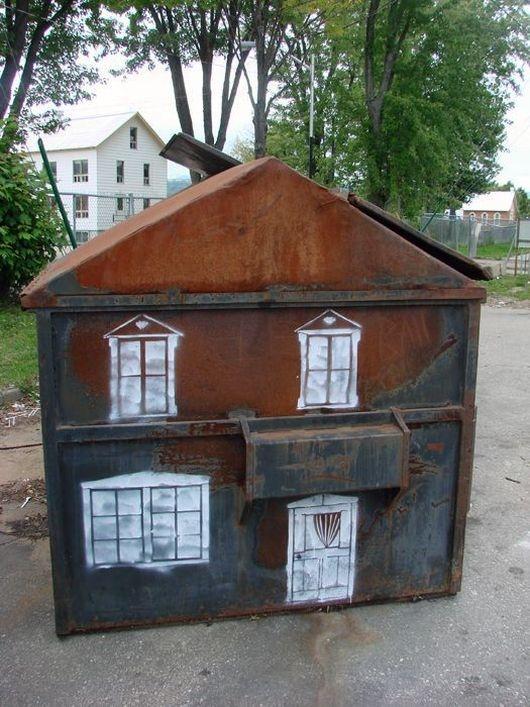 street, art, dumpster, home