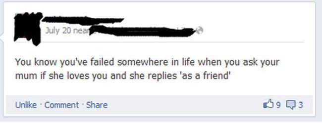 facebook, status, parenting, wtf, mother, friendzone