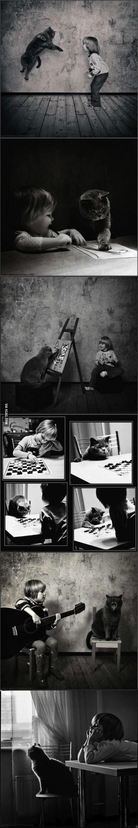 girl, cat, friendship
