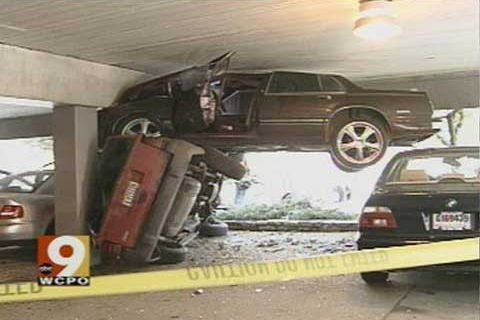 car, fail, accident, parking garage