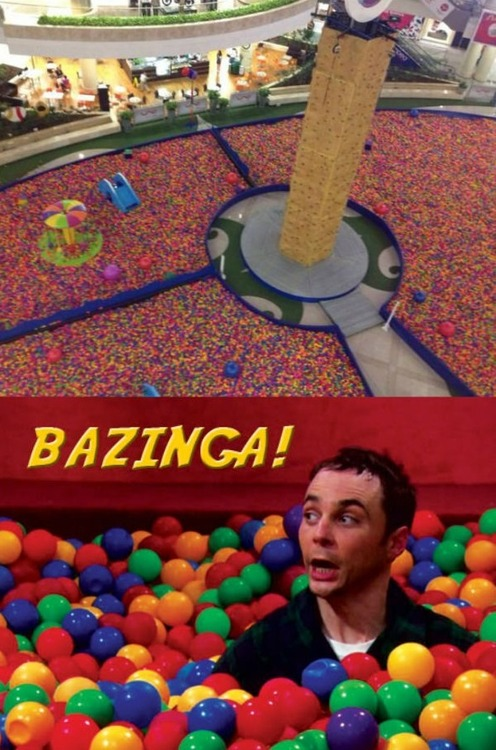 massive ball pit in mall, bazinga