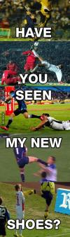 new shoes, soccer, kick, face