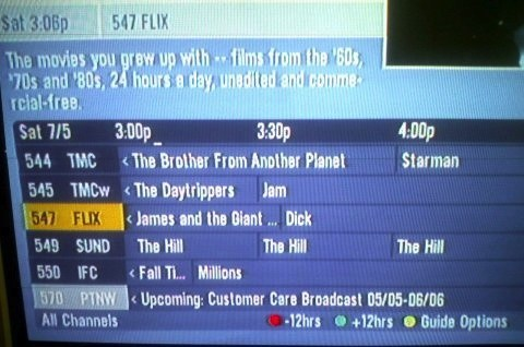 tv, guide, title placement, fail