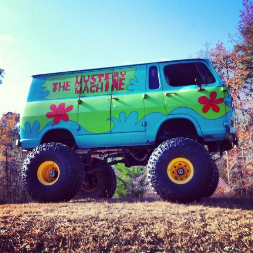 mystery machine, scooby doo, monster truck, van, win