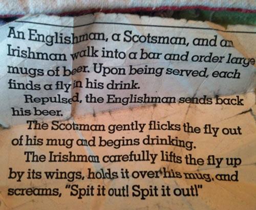 joke, bar, fly, englishman, scotsman, irishman