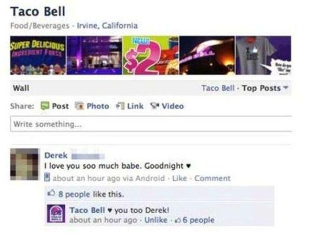 facebook, status, taco bell, love