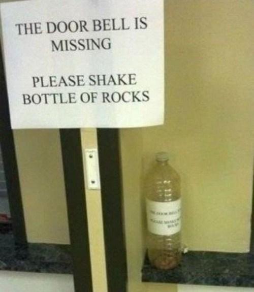 the door bell is missing, please shake bottle of rocks