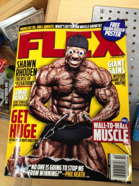 googley eyes, magazine, muscles
