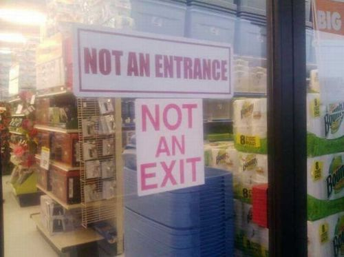 sign, contradiction, exit, entrance