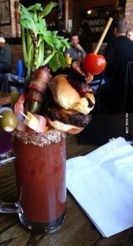 drink, burger, feast, bacon, win
