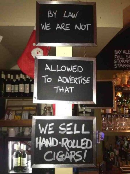 sign, chalk, hand rolled cigars, law