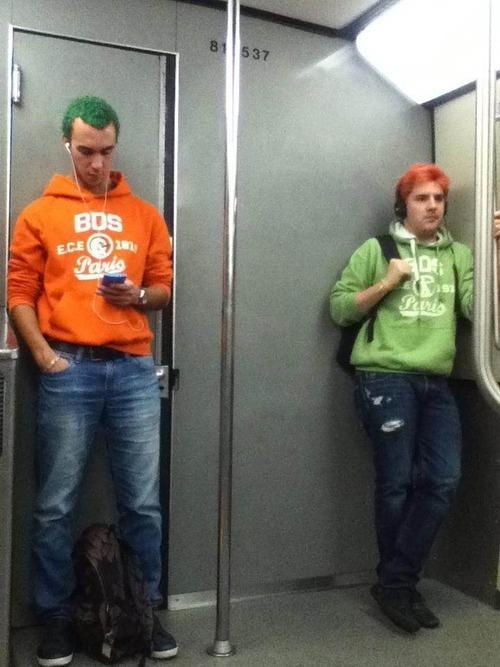 orange, green, hair, sweatshirt, metro