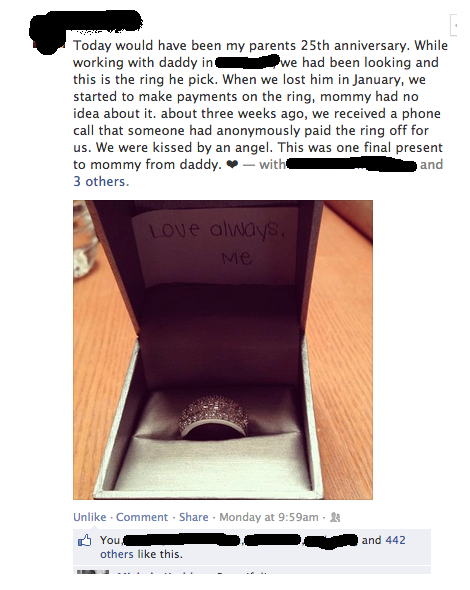 heart warming, ring, facebook, story