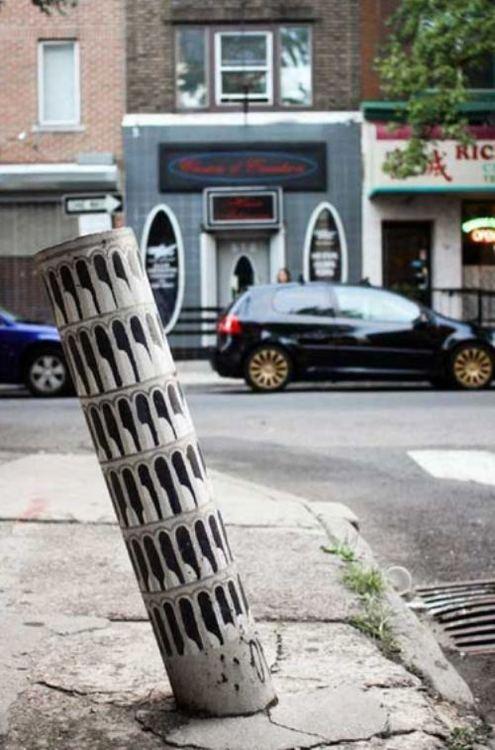 street art, hacked irl, leaning tower, pisa