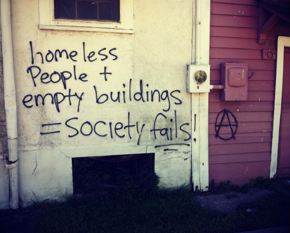 graffiti, social commentary, homeless, empty buildings