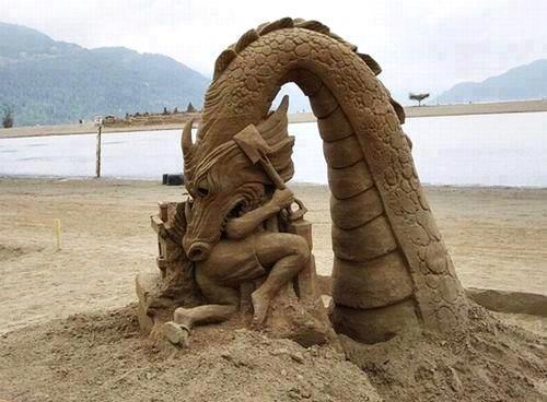 sand, sculpture, art, dragon