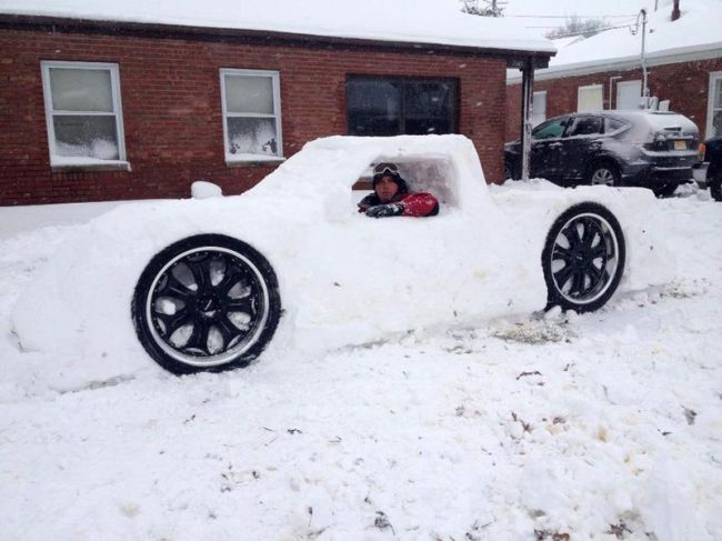 car made out of snow, snowmobile