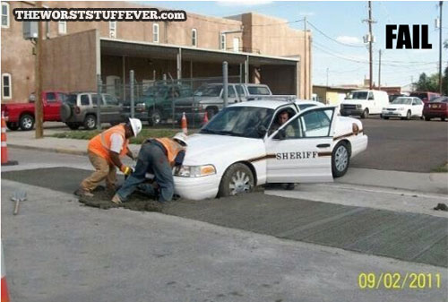 sheriff, fail, car, wet cement, police