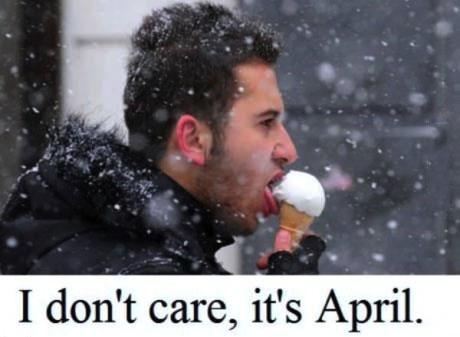 april, ice cream, snow
