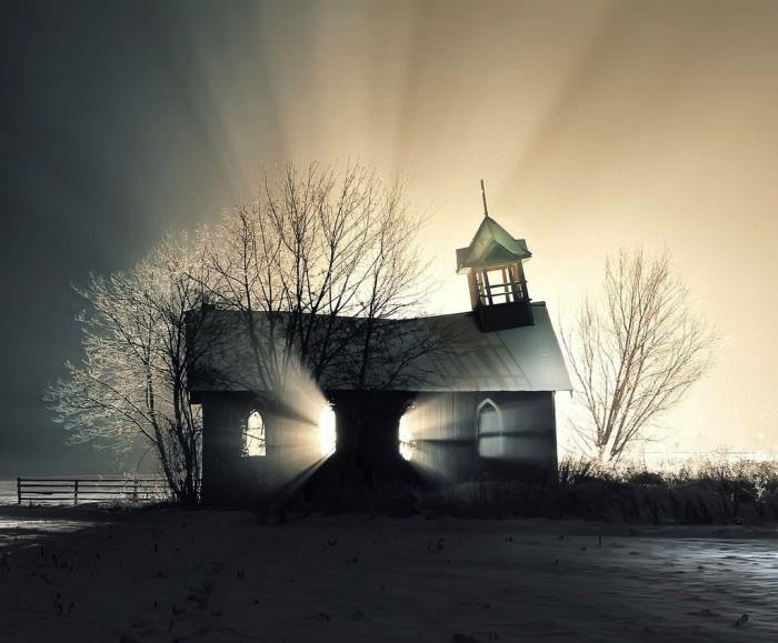 church, light, sun, winter, beautiful, photography