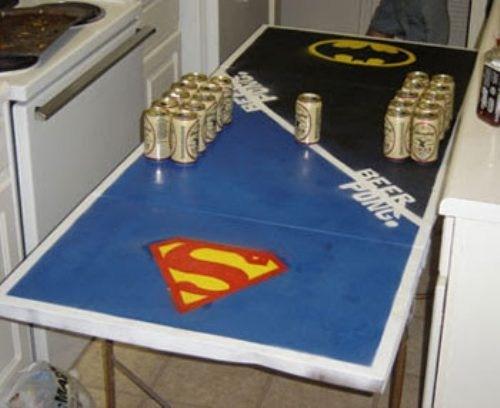 superman, batman, beer pong table