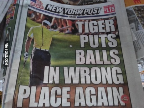 newspaper, headline, fail, tiger woods