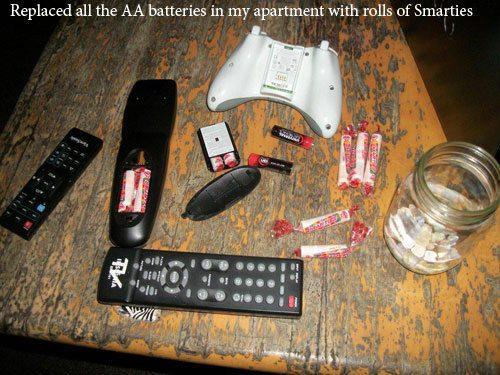 troll, prank, smarties, rockets, batteries, remotes