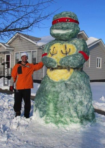 snow man, tmnt, turtle, sculpture