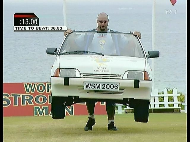 car, strong man, lift